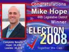 MIKE HOPE WINS 44TH DISTRICT